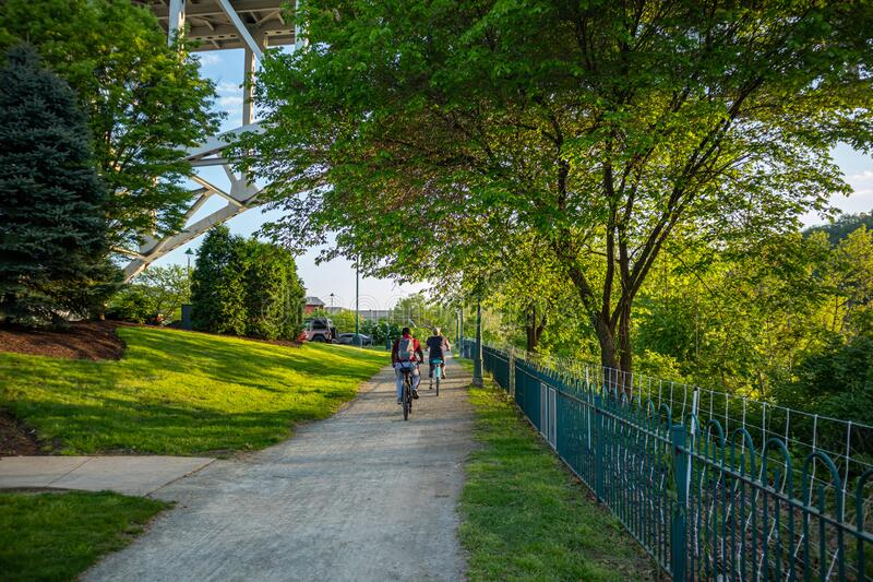 People riding bicycles on a path, under green trees. A place for relaxation and activities. Pittsburgh, Pennsylvania, USA. People riding bikes on a path, under stock image
