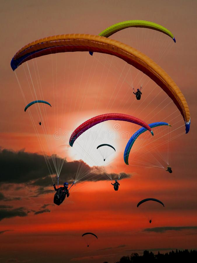 People Riding Parachutes During Sunset Free Public Domain Cc0 Image