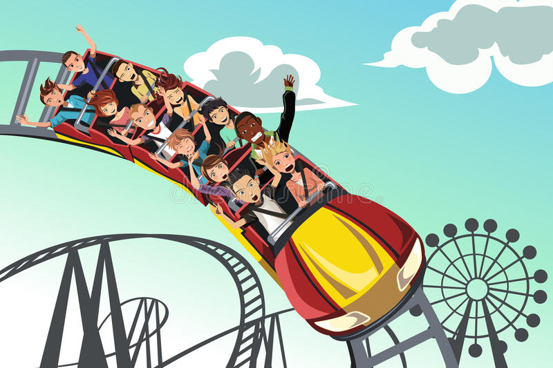 People riding roller coaster. A vector illustration of people riding roller coaster in an amusement park vector illustration