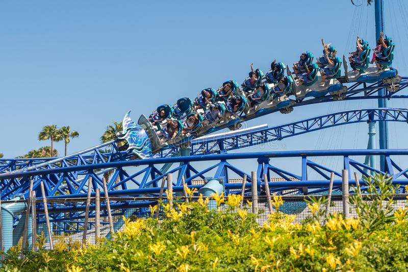 Manta Ray Roller Coaster Ride at Seaworld San Diego southern california USA. People riding the roller coaster at the sea world san Diego. The ride is very royalty free stock images