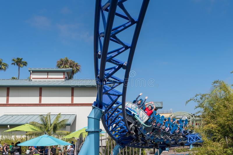 Manta Ray Roller Coaster Ride at Seaworld San Diego southern california USA. People riding the roller coaster at the sea world san Diego. The ride is very royalty free stock image