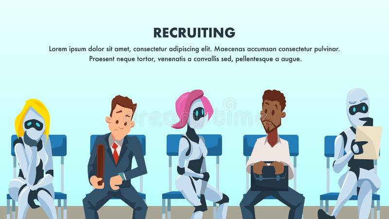 People and Robot Sit in Queue for Job Interview vector illustration