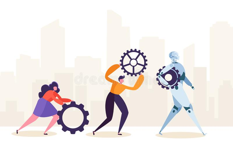 People and Robot Working Together. Human Characters and Robotic Rolling Gear. Future Man and Ai Partnership Concept. Flat Cartoon Vector Illustration vector illustration