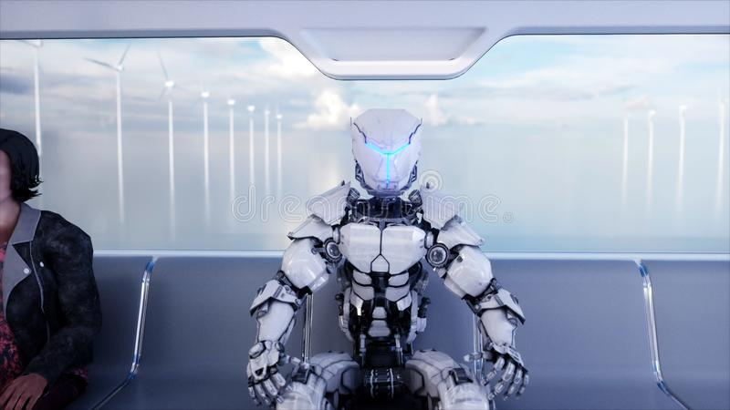 People and robots. Futuristic monorail transport. Concept of future. Realistic 4K animation. royalty free stock images