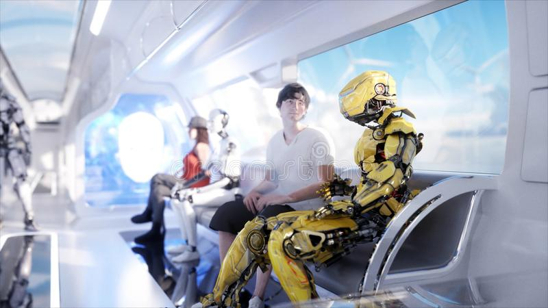 People and robots. Futuristic monorail transport. Concept of future. Realistic 4K animation. stock photo