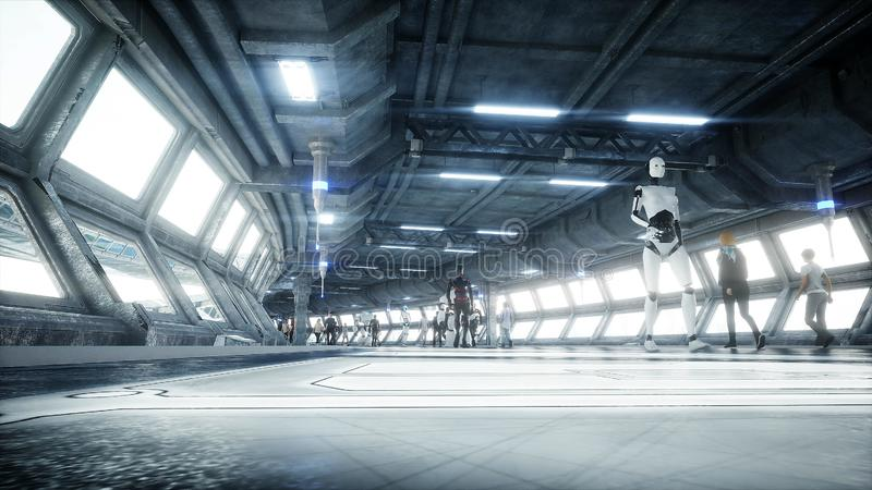 People and robots. Sci fi tonnel. Futuristic traffic. Concept of future. 3d rendering. stock illustration