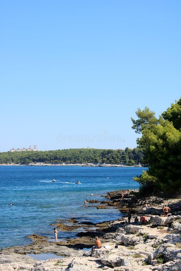 Rocky coastline Adriatic Sea near Pula, Croatia stock photography