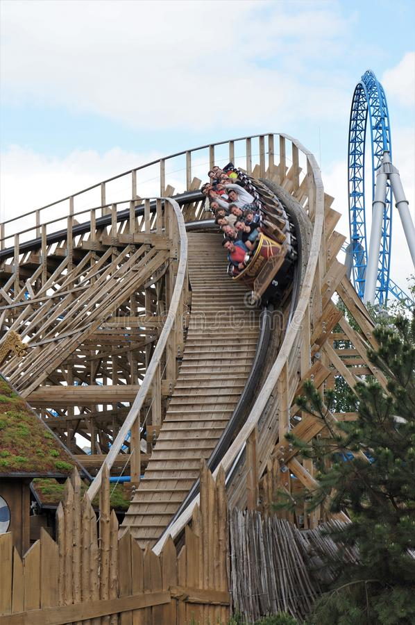 People on a roller-coaster in Europa park royalty free stock image