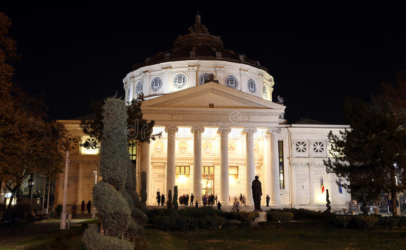 Travel to Romania: People at Romanian Atheneum royalty free stock photography