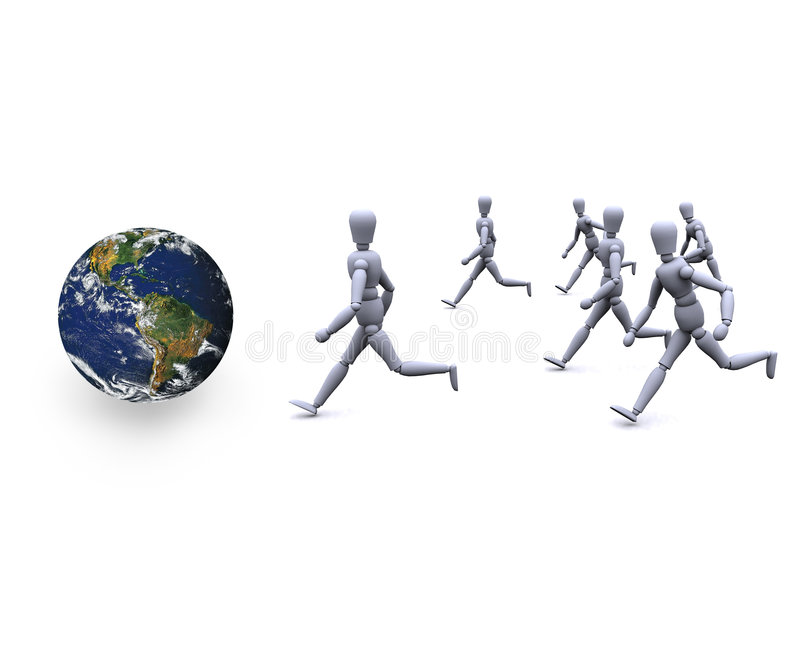 People running. 3d people are fast running towards earth royalty free illustration