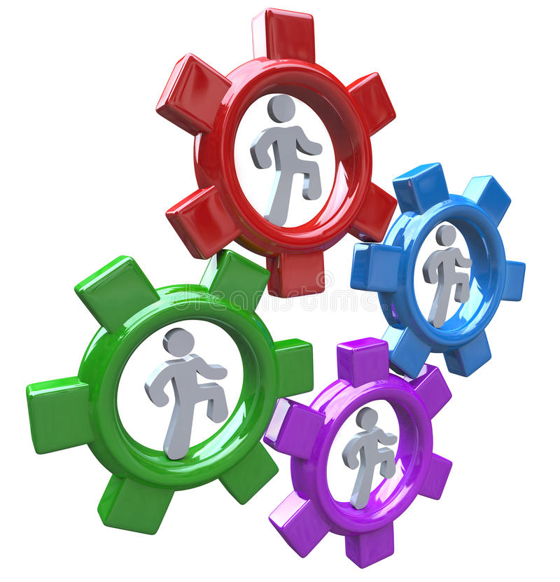 Download People Running In Gears Teamwork And Progress Stock Illustration - Image: 20388256