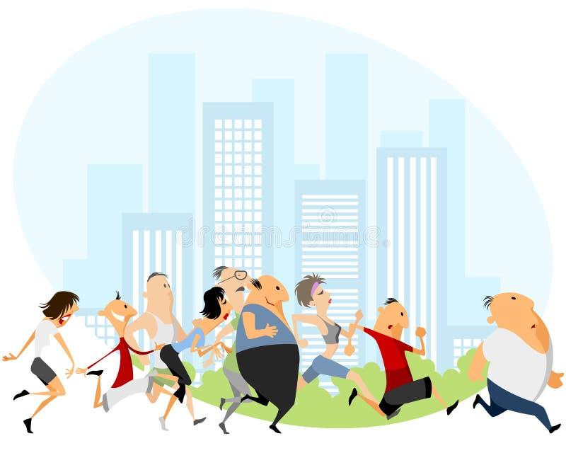 People running marathon. Vector illustration of a people running marathon stock illustration