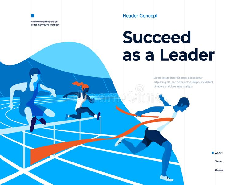 People running on the stadium to win and succeed. Bussines and Leadership. Flat vector illustration. Landing page and vector illustration
