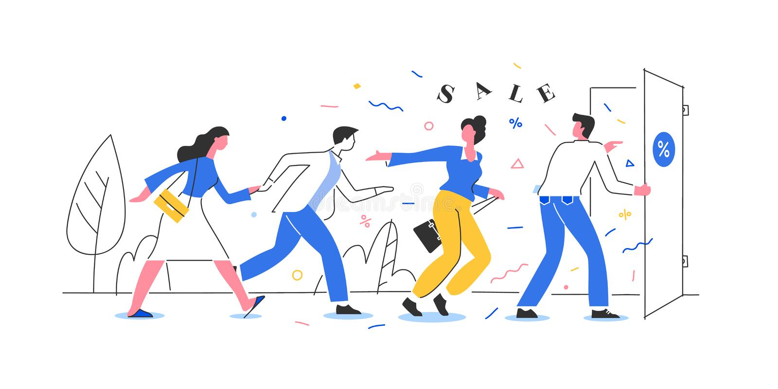 People Running to the Store on Sale stock images