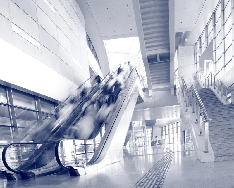 People Rush On A Escalator Motion Blurred Royalty Free Stock Image