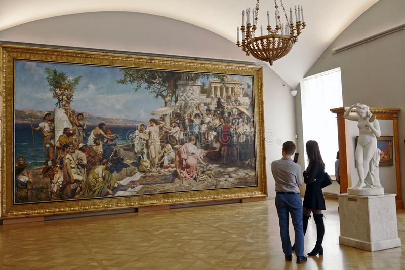 People in the Russian Museum in St. Petersburg, Russia stock photos