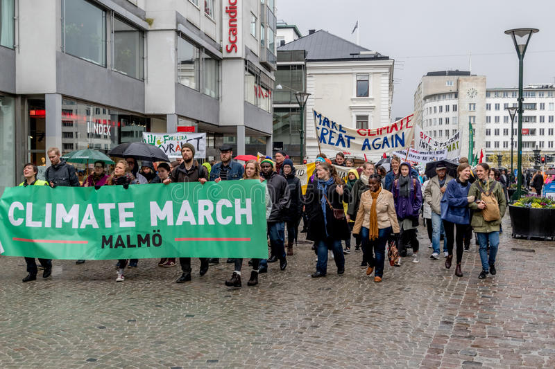 People`s Climate March Malmö. Climate March in Malmö, Sweden 2017-04-29 Aprox 1500 people marched against Climate Changes and Pollution as a part of the stock image