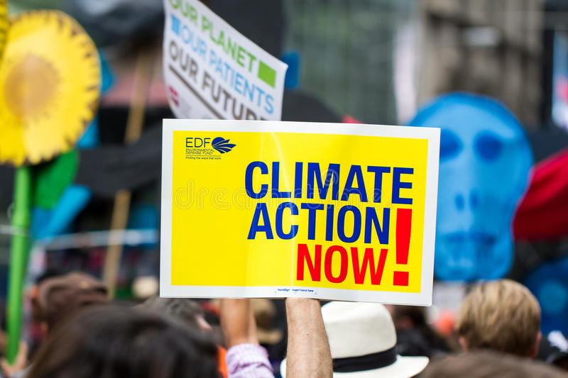 People's Climate March NYC. Protesters at the People's Climate March in New York City September 21, 2014 stock image