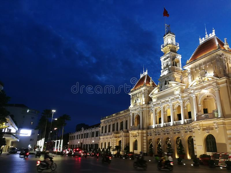 People`s Committee of Ho Chi Minh City. Ho Chi Minh City Hall or Saigon City Hall or Hôtel de Ville de Saïgon was built in 1902-1908 in a French colonial stock photo