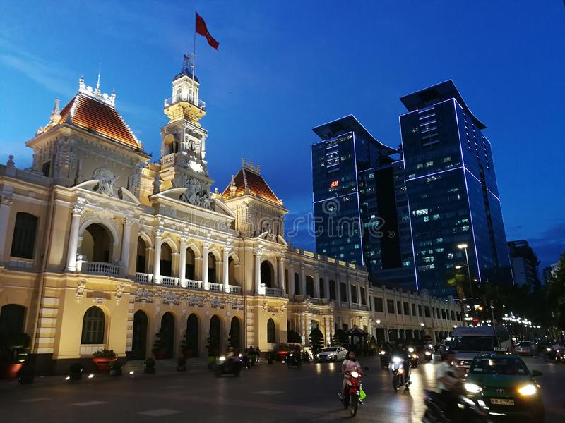 People`s Committee of Ho Chi Minh City. Ho Chi Minh City Hall or Saigon City Hall or Hôtel de Ville de Saïgon was built in 1902-1908 in a French colonial royalty free stock image