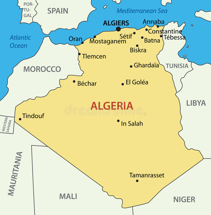 The Peoples Democratic Republic Of Algeria Map Royalty Free - Algeria map
