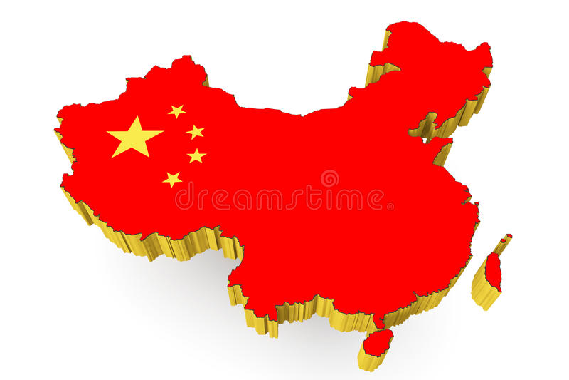 People's Republic of China kartlägger med sjunker stock illustrationer