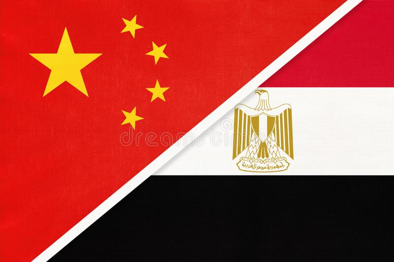 China or PRC vs Egypt national flag from textile. Relationship between Asian and African countries. People`s Republic of China or PRC vs Arab Republic of Egypt royalty free stock photos