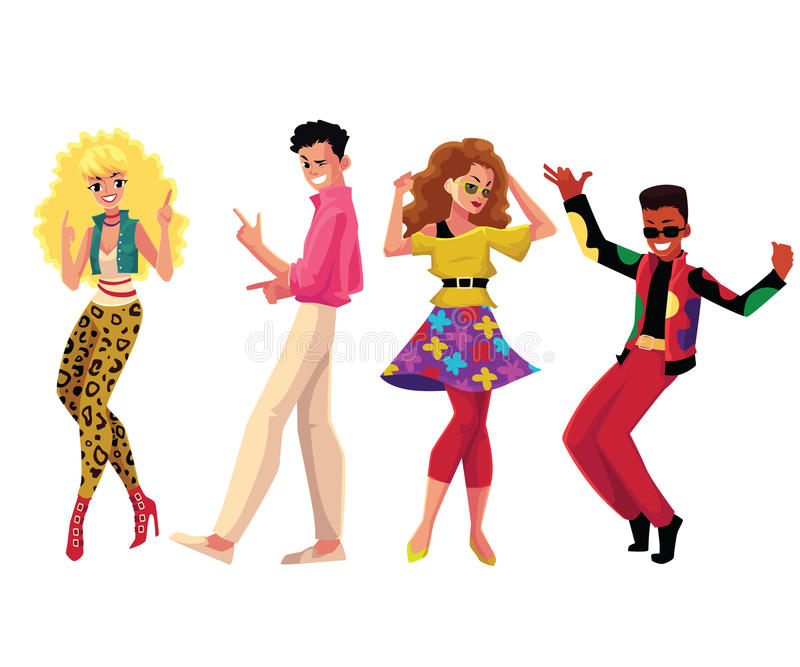 People in 1980s style clothes dancing at retro disco party vector illustration