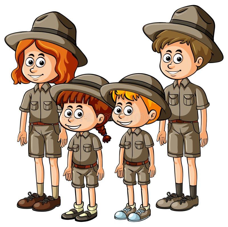 People in safari outfit. Illustration stock illustration