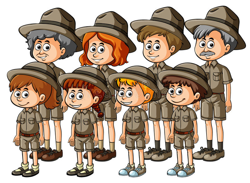 People in safari outfit. Illustration royalty free illustration
