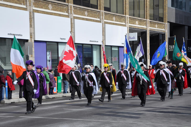 People in Saint Patrick's Day parade, Ottawa, Canada royalty free stock image