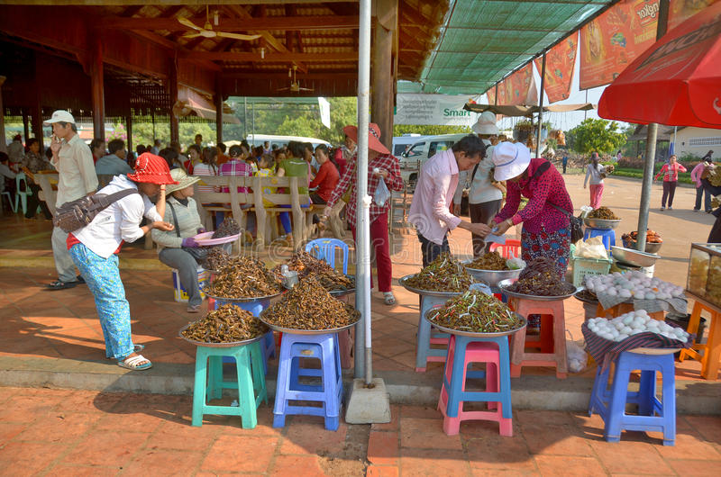 People sale fried bugs, spiders, crickets stock photo