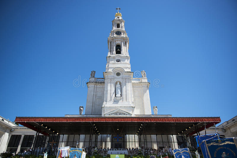 People at the Sanctuary of Fatima during the celebrations of the apparition of the Virgin Mary in Fatima, Portugal. stock images