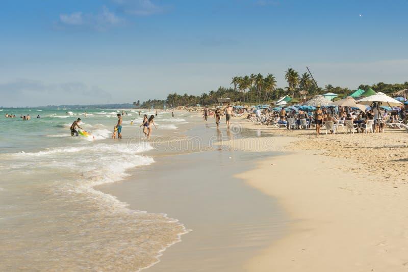 People at Santa Maria beach Havana royalty free stock photos