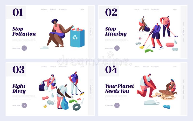 People Saving and Cleaning Planet from Trash Website Landing Page Templates Set. Male and Female Characters Raking Earth Surface. Recycle and Ecology. Web Page vector illustration