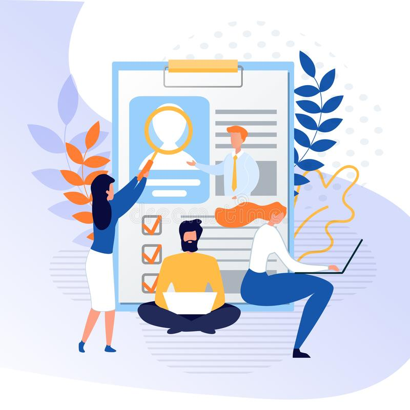 People Search Candidate and Analyze Online Profile. Job Recruitment on Internet. HR Agents Using Laptop, Examining Huge Resume on Clipboard with Magnifying vector illustration