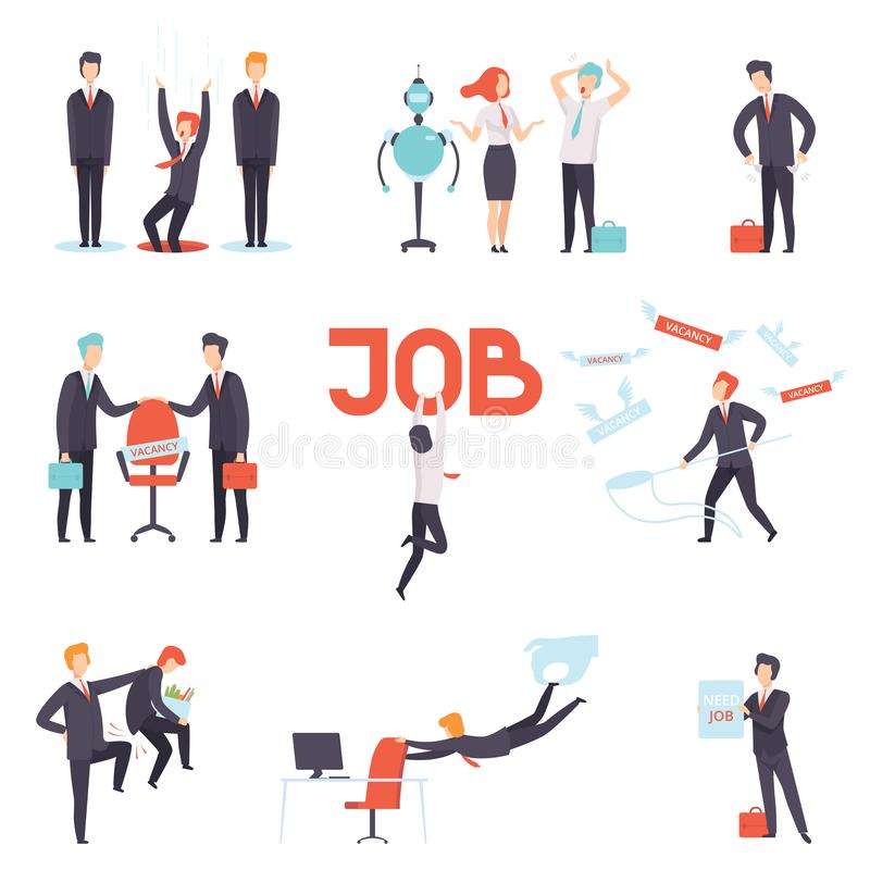 People searching and losing their jobs set, selection of candidates for vacancy, office workers fired from job. Recruitment, hiring vector Illustration stock illustration