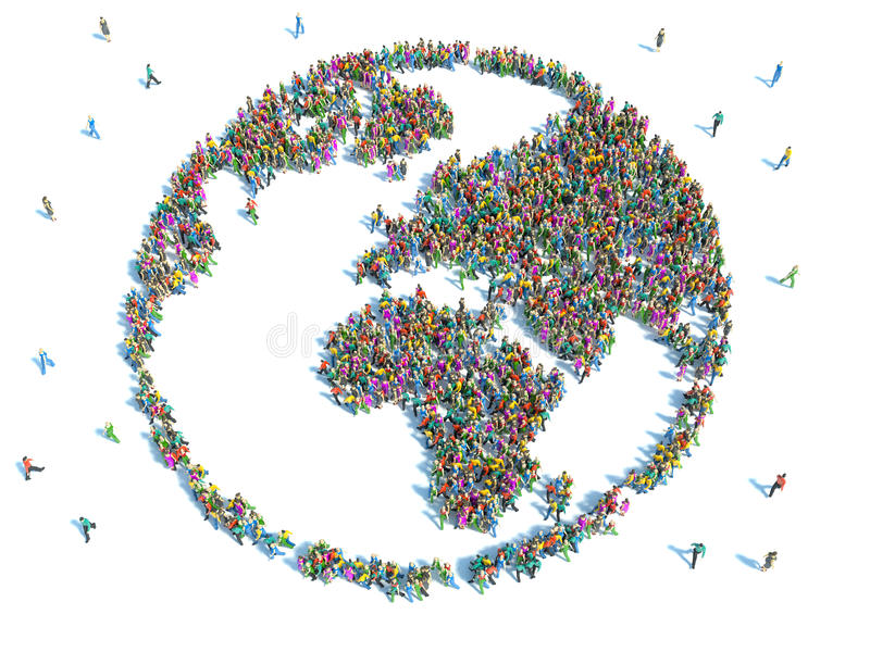 People seen from above forming the earth globe shape.  vector illustration
