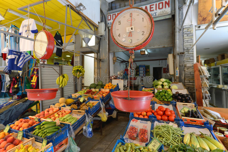 People sell fresh fruits in Rethymno, Crete royalty free stock photos
