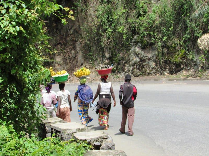 People selling fruits at Gisenyi,Rwanda royalty free stock image