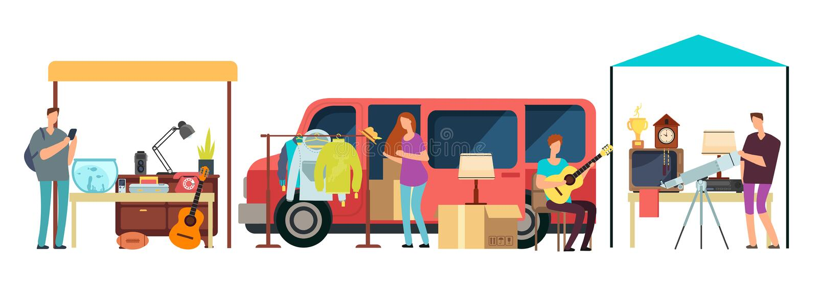 People selling, shopping second hand clothes, vintage goods in mini tracks at flea market. Bazaar with retro things stock illustration