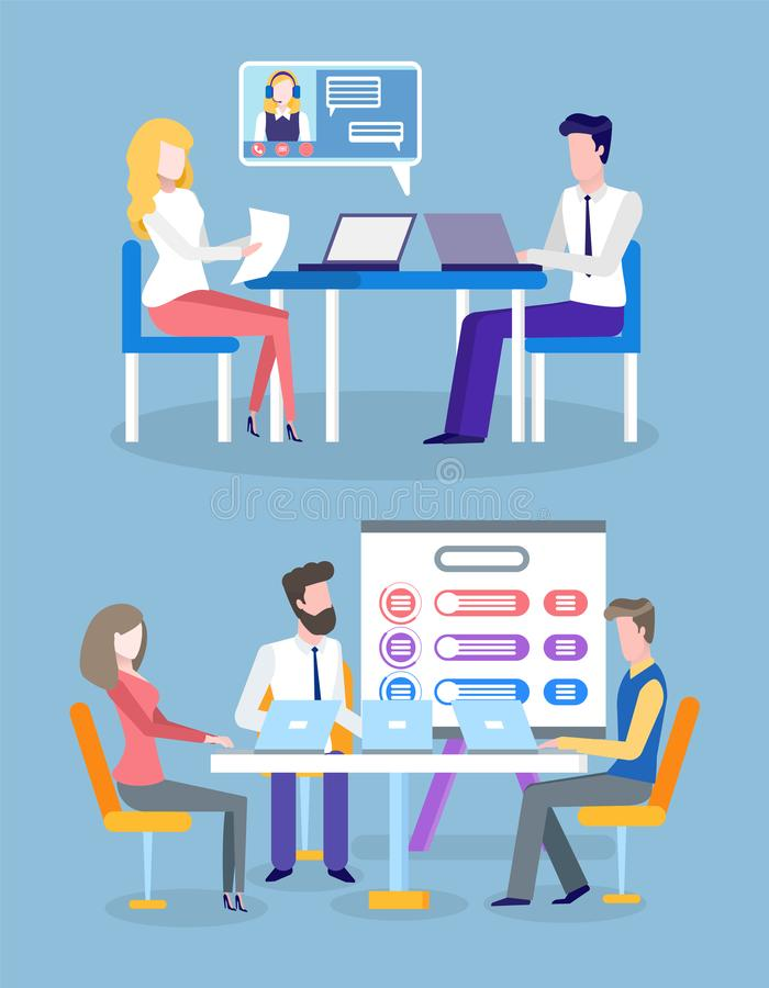 People on Seminar Discussing Results of Business. Business project results and infocharts vector. Tables with info, people sitting with laptops, presentation on vector illustration