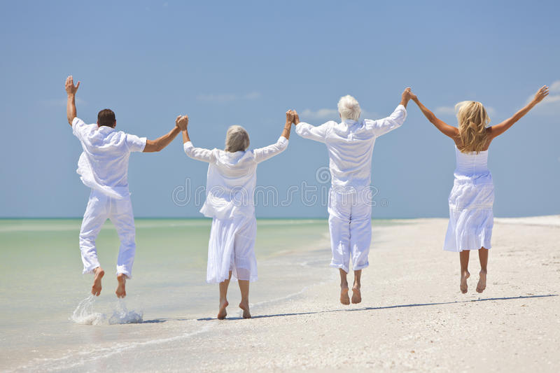 Download People Seniors Family Generations Jumping On Beach Stock Image - Image: 20277065