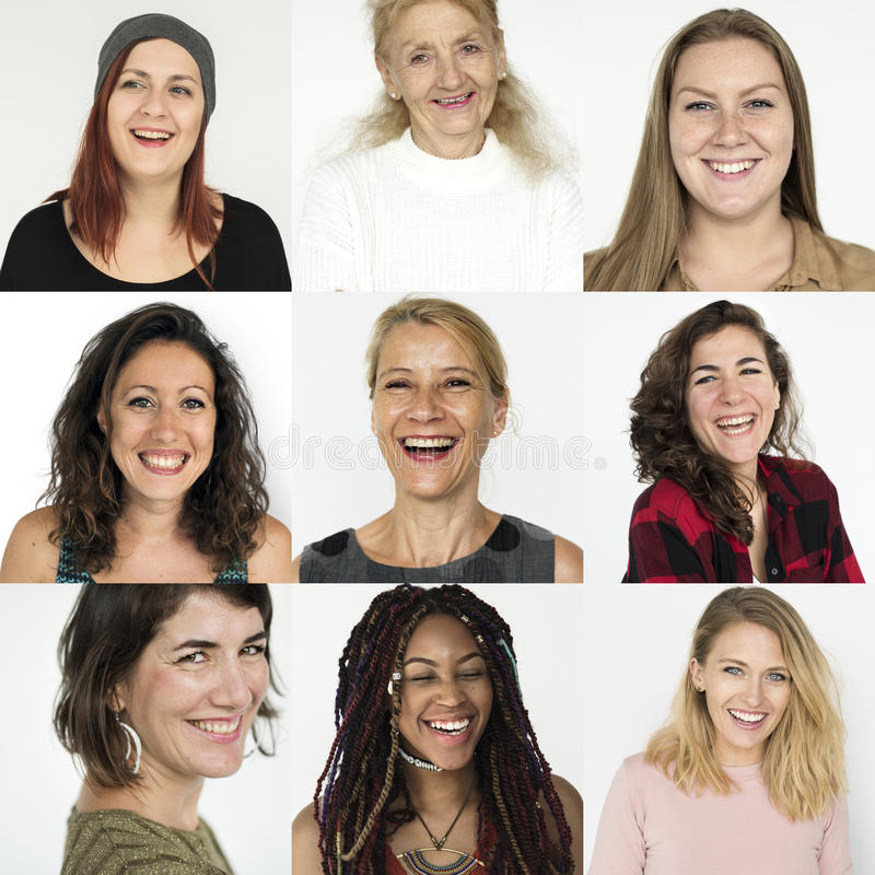 People Set of Diversity Women with Smiling Face Expression Studio Collage royalty free stock photos