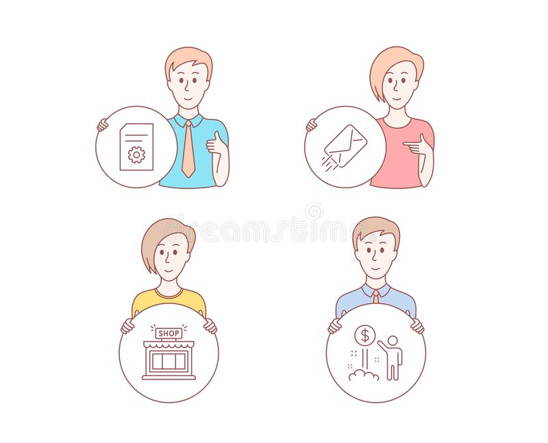 E-mail, File settings and Shop icons. Income money sign. Mail delivery, File management, Store. Wealth. Vector. People set of E-mail, File settings and Shop vector illustration