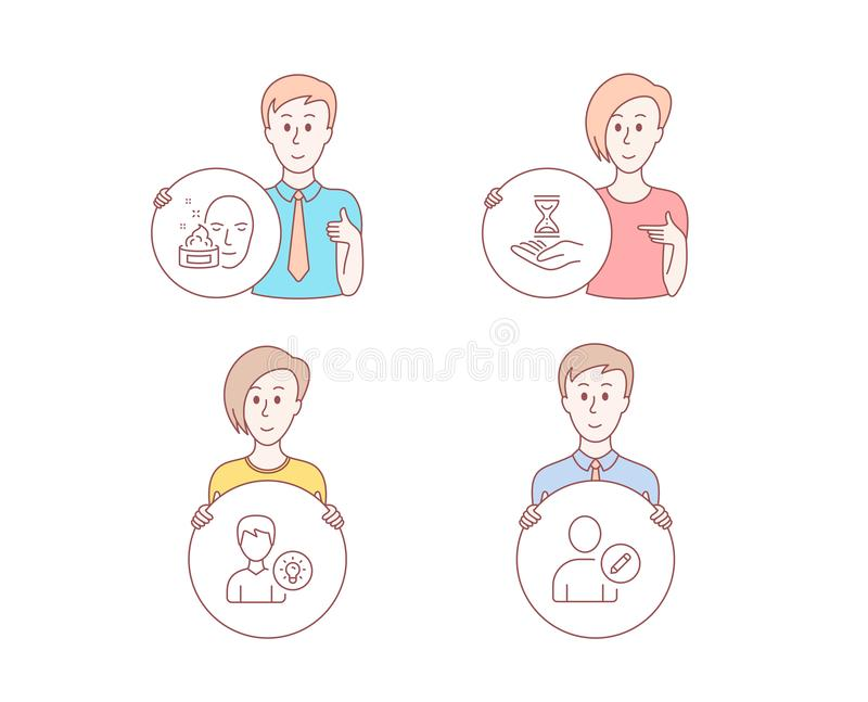 Face cream, Time hourglass and Person idea icons. Edit user sign. Gel, Sand watch, Lamp energy. Profile data. Vector. People set of Face cream, Time hourglass vector illustration