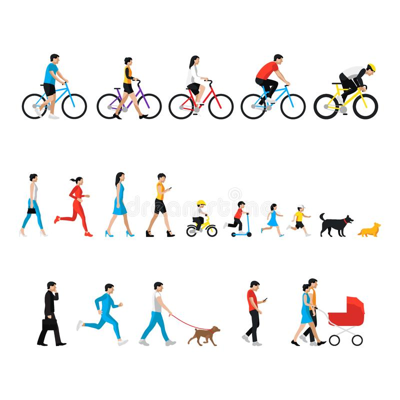 Free People Set. Man, Woman, Children, Boy, Girl, Dog. People In Activity Stock Images - 150351124