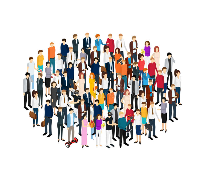 People Set Man and Woman Isometric View. Vector royalty free illustration