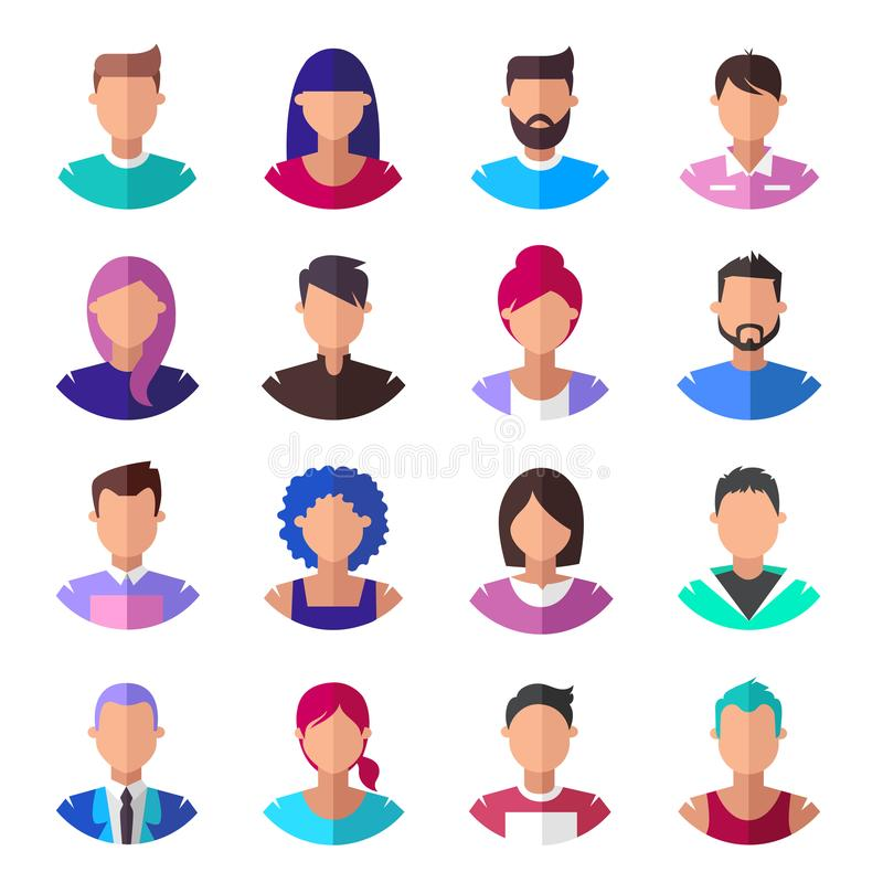 People. Set of modern icons. Vector illustration royalty free illustration
