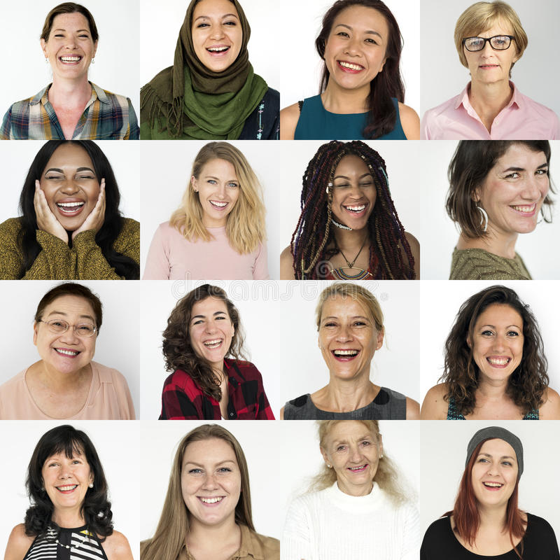 Free People Set Of Diversity Women With Smiling Face Expression Studio Collage Stock Photography - 96005872